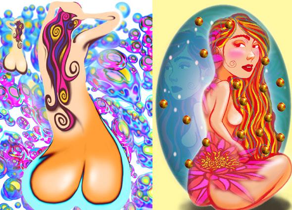 Left : Lorelei in Bubbles Right : Miss Butt