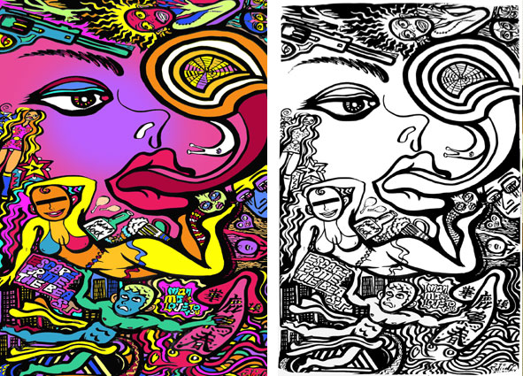 Left : Around the island in a day (colored with computer)  Right : Original Drawing