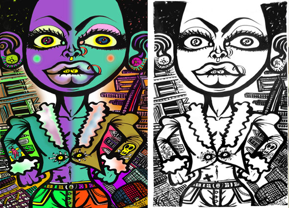 Left : Sexy beast in a Jungle (colored with computer)  Right : Original Drawing