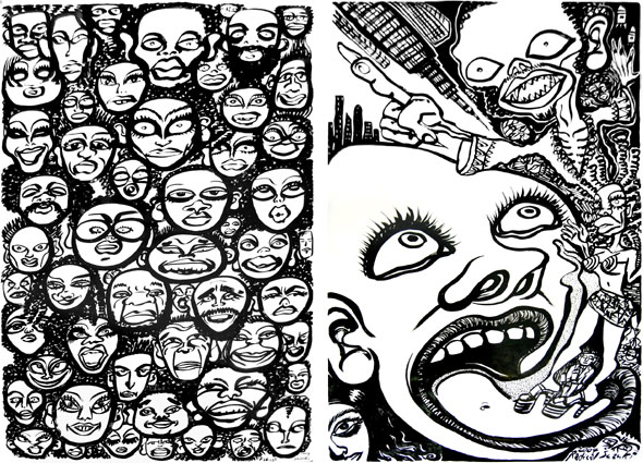 Left : Everyday People(Original Drawing)  Right : Foreign Vampire lurking in town